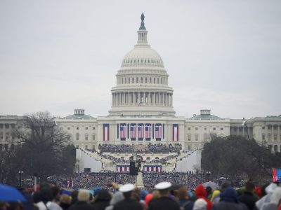 WASHINGTON, DC - JANUARY 20:  Supporters arrive before the inauguration of Donald Trump being sworn in as the 45th President of the United States in front of the U.S. Capitol Building on the National Mall January 20, 2017 in Washington D.C.  Hundreds of thousands of people attended to celebrate and protest.  (Photo by Mark Makela/Getty Images)